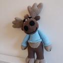 Moose, Baba-mama-gyerek, Igazán karácsonyi hangulatom lett, látom a havas tájat, a jávorszarvasokat...  29cm magas  A 'Min Sy..., Meska
