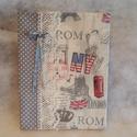 London füzet borító, Konyhafelszerelés, Receptfüzet, A füzet borítónak az alapja egy pamutvászon.    Tökéletes ajándék olyasvalakinek aki szeretn..., Meska