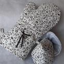Fekete apró virág mintás edényfogókesztyű fedőfogókkal, Főzni és sütni szerető anyukák, apukák, nagy...