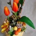 Tavaszi asztaldísz , Kerámia kaspóba készült tavaszi asztaldísz. M...