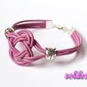 Pink bőr karkötő kelta csomóval, Pink színű bőrszálból készítettem ezt a kar...