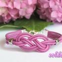 Pink bőr karkötő kelta csomóval, Ékszer, Karkötő, Pink színű bőrszálból készítettem ezt a karkötőt, közepén dekoratív kelta csomóval, s két  ezüst szí..., Meska
