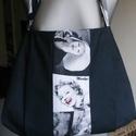 Marilyn válltáska, Táska, Válltáska, oldaltáska, Vászon anyagból készítettem ezt a válltáskát.magassága 32 cm szélessége felül 32 cm alul ..., Meska