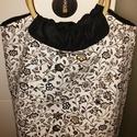 Virág mintás kézi táska, Táska, Varrás, Vastag vászonból készítettem ezt a táskát bambusz karika füllel .Belseje fekete vászon anyagból kés..., Meska