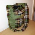 Zöld kockás táska, Táska, Válltáska, oldaltáska, Üvegművészet, Vállra akasztós kockás táskát készítettem, amely vállra akasztható. Belsejébe 2 osztott zseb találh..., Meska