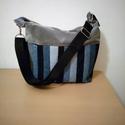 Csíkos farmer táska, Táska, Válltáska, oldaltáska, Nagyon tetszetős farmer táskát készítettem .Belül 3 zseb található.Cipzárral záródik.Mér..., Meska