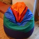 Babzsákfotel, Bútor, Otthon, lakberendezés, Szék, fotel, Babzsák, Varrás, Babzsákfotel:  Lila, zöld, kék, piros és narancssárga vászonból készült. Ülésre, fekvésre (eldöntve..., Meska