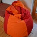 Babzsákfotel, Gyerek & játék, Otthon & lakás, Bútor, Lakberendezés, Babzsák, Varrás, Babzsákfotel:  Erős piros és narancssárga vászonból készült. Ülésre, fekvésre (eldöntve) egyaránt a..., Meska