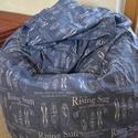 Babzsákfotel, Bútor, Otthon, lakberendezés, Szék, fotel, Babzsák, Babzsákfotel:  Kék és fehér mintás vászonból készült. Ülésre, fekvésre (eldöntve) egyar..., Meska
