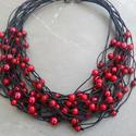 AKCIÓ: L1725 Flamenco nyaklánc , Ékszer, Nyaklánc,  15% kedvezménnyel kapható. A nyaklánceredeti ára 1690 Ft.   Piros tekla üveg gyöngyök fekete..., Meska
