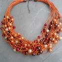 L1773 Orange Joy nyaklánc , Ékszer, Nyaklánc, Narancssárga, piros és barna gyöngyök narancssárga pamut zsinóron.  A nyaklánc hossza 43+5cm ..., Meska