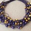 L2103 lila és sárga nyaklánc ,  A nyaklánc hossza 44+5cm (rövidebbre is kérhet...