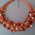 L2110 Fire nyaklánc , Intenzív színek kavalkádja: bordó, narancs és...