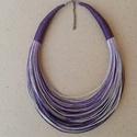 L2118 Lila - szürke nyaklánc , Ékszer, Nyaklánc, Lila és szürke színek kombinációja.    A nyaklánc hossza: 44cm+5cm (a legrövidebb szál)  A v..., Meska