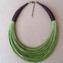 Zöld-barna pamut nyaklánc L2128, Ékszer, Nyaklánc, Viaszolt pamut nyaklánc.    A nyaklánc hossza 43+5cm (legrövidebb szál).  A valódi szín eltér..., Meska