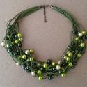 L2231  Fresh Green nyaklánc , Ékszer, Nyaklánc, Tekla gyöngyök pamut viaszolt szálakon.    A nyaklánc hossza 43+5cm (más méretben is kérhető..., Meska