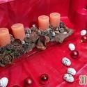 Adventi asztaldísz gyertyákkal, 30 cm hosszú, Dekoráció, Ünnepi dekoráció, Karácsonyi, adventi apróságok, Karácsonyi dekoráció, Virágkötés, Adventi asztaldísz, 30 cm hosszú üvegtálon, gyertyákkal, termésekkel és egyéb dekorációs elemekkel ..., Meska