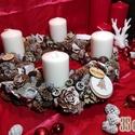 Adventi koszorú 35cm átmérőjű, gyertyákkal, Dekoráció, Ünnepi dekoráció, Karácsonyi, adventi apróságok, Karácsonyi dekoráció, Virágkötés, 35 cm átmérőjű adventi koszorú kerek alapra, gyertyákkal, termésekkel és egyéb dekorációs elemekkel..., Meska