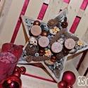 Adventi asztaldísz, csillag alakú tálban, 35cm, Dekoráció, Ünnepi dekoráció, Karácsonyi, adventi apróságok, Karácsonyi dekoráció, Virágkötés, Adventi asztaldísz 35cm széles csillaga alakú fa tálban, gyertyákkal, termésekkel és egyéb dekoráci..., Meska