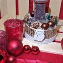 Adventi asztaldísz 14cm átmérőjű dobozban, baglyos, Dekoráció, Ünnepi dekoráció, Karácsonyi, adventi apróságok, Karácsonyi dekoráció, Virágkötés, 14cm átmérőjű adventi asztaldísz kerek dobozban, gyertyával, termésekkel és egyéb dekorációs elemek..., Meska