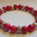 'Red Sky' - márvány gyöngy karkötő, Ékszer, óra, Karkötő, 8mm-es ciklámen színű márvány gyöngyöket fűztem erős gumidamilra, melyek közé ezüst szí..., Meska