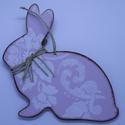 Húsvéti / Tavaszi dekoráció, Dekoráció, Húsvéti díszek, Dísz, Mindenmás, Festett tárgyak, 3 darabos lila MDF tavaszi / húsvéti dekoráció.   A szett 1 db nyusziból, 1 db szívből, és 1db tojá..., Meska