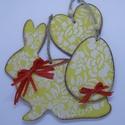 3 darabos húsvéti dekoráció, Dekoráció, Húsvéti díszek, Dísz, Ünnepi dekoráció, Festett tárgyak, 3 darabos sárga MDF tavaszi / húsvéti dekoráció.  A szett 1 db nyusziból, 1 db szívből, és 1db tojá..., Meska