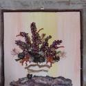 cserepes virágcsokor, Képzőművészet, Dekoráció, Illusztráció, Kép, Fotó, grafika, rajz, illusztráció, A kép 3mm -es rétegelt lemez alapra épült a háttér minden esetben akril festéssel készül a kép lény..., Meska