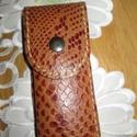 Kígyóbőr utánzatú tolltartó, Táska, Pénztárca, tok, tárca, -valódi bőrből,kígyóbőrutánzatból készült ez a tolltartó -saját tervezés -4-5 db. toll ..., Meska