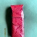 Piros kígyóbőrutánzatú bőrből készült tolltartó, Táska, Pénztárca, tok, tárca,  -valódi marhabőrből készült ez a tolltartó,csakis kézi munkával -mérete:6x12 cm-3-4 db. to..., Meska
