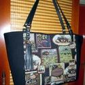 Nagyméretű pakolós táska valódi bőr fülekkel, Táska, Válltáska, oldaltáska, Szatyor, Bőrművesség, Varrás, -nagyon szép és jó minőségű gobelin szövetből varrtam ezt a hatalmas táskát,amit jó minőségű fekete..., Meska
