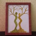 Kapcsolat, Dekoráció, Képzőművészet, Otthon, lakberendezés, Festmény, Üveglapra festett üveg festmény, 20x26-cm-es méretben. Férfi és nő kapcsolatáról szól, át..., Meska