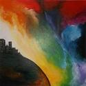 Égi játszma-akril/vászon, Dekoráció, Képzőművészet, Festmény, Akril, Festészet, Égi játszma 50×50cm  Akril-vászon festmény, Meska