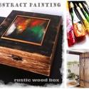 Absztrakt képpel díszített rusztikus fa doboz, Dekoráció, Otthon, lakberendezés, Tárolóeszköz, Doboz, Festett tárgyak, Mozaik, Egyedi absztrakt képpel díszített rusztikus fa doboz.  Különleges modern és antik jelleg keveredése..., Meska