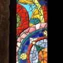 Színes mandalás üvegmozaik falikép, Dekoráció, Képzőművészet, Dísz, Vegyes technika, Színes mandalás üvegmozaikkal kirakott falikép  Mérete: 61×9,5cm., Meska