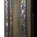 Csillogó mozaikos falikép, Képzőművészet, Dekoráció, Kép, Vegyes technika, Mozaik, Fekete lazúros fenyő deszka, az erezet vonalát követő irizáló üvegmozaik berakással, amely a fagyot..., Meska