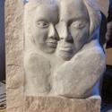 Összetartozás-márvány szobor, plasztika, Képzőművészet, Szobor, Kő, Kőfaragás, Szobrászat, Összetartozás  Kézzel faragott márvány szobor  Méret: 17×19,5cm, Meska