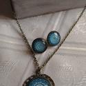 Mandala üveglencse ékszer szett , Ékszer, óra, Fülbevaló, Medál, Nyaklánc, Ékszerkészítés, Mandala motívumos képet tettem bronz színű medálalapba, és hozzá passzoló bedugós fülbevalót készít..., Meska