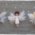 """Őrangyalkák/ Karácsonyi Mini Angyalkák - tűnemezelt baba, dísz, függő, Dekoráció, Ünnepi dekoráció, Karácsonyi, adventi apróságok, Karácsonyfadísz, Nemezelés,  A """"klasszikus"""" (középen) 850.-Ft A két szélső (ajándékos/csengettyűs) 950.-Ft (Természetesen más ö..., Meska"""