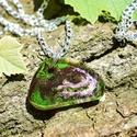 Egyedi üveggyanta nyaklánc, Ékszer, Nyaklánc, Egyedi mintázattal készült medál., Meska