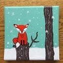 Kis róka a tèlben, Dekoráció, Képzőművészet, Kép, Festmény, 15x15 centiméteres vászonra akrilfestékkel festett kép, Meska