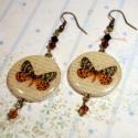 Pillangós Vintage fülbevaló, Ékszer, óra, Fülbevaló, A kollekció darabjai a vintage romantikájával hódítanak. Pillangók, madárkák és az Edward-korszak hö..., Meska