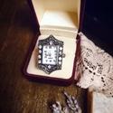 Lady Louisa Stockbridge - artdeco stílusú gyűrűóra (pezsgő színű kövekkel), Ékszer, óra, Esküvő, Esküvői ékszer, Karóra, óra, Oly sok kérésnek eleget téve, a kollekció keretében végre megérkeztek az gyűrűórák! Mutatós és persz..., Meska