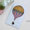 Vintage képeslap - Hőlégballon 9., Valódi, kézzel készült vintage képeslap, mely...