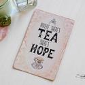 Vintage képeslap - Tea time 1., Valódi, kézzel készült vintage képeslap, mely...