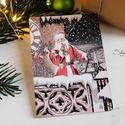 Vintage Karácsony - Mikulás képeslap 1., Karácsonyi, adventi apróságok, Naptár, képeslap, album, Ajándékkísérő, képeslap, Képeslap, levélpapír, Valódi, kézzel készült vintage képeslap, mely akár postán is feladható!  Vagy igazi hangulatos essze..., Meska