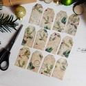 Vintage Karácsony - ajándékkísérő kártya 4., Karácsonyi, adventi apróságok, Naptár, képeslap, album, Ajándékkísérő, képeslap, Ajándékkísérő, 12 db-os, elegáns, 250 grammos  dekorpapírra nyomott, igazi vintage hangulatú ajándékkísérők, melyek..., Meska