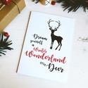 My Deer - Rénszarvasos karácsonyi képeslap 2., Karácsonyi, adventi apróságok, Naptár, képeslap, album, Ajándékkísérő, képeslap, Képeslap, levélpapír, Most Rudolf, a legmenőbb piros orrú rénszarvas viheti az ünnepi üzeneteket, a szívednek legkedvesebb..., Meska