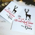 My Deer - Rénszarvasos karácsonyi képeslap 3., Karácsonyi, adventi apróságok, Naptár, képeslap, album, Ajándékkísérő, képeslap, Képeslap, levélpapír, Most Rudolf, a legmenőbb piros orrú rénszarvas viheti az ünnepi üzeneteket, a szívednek legkedvesebb..., Meska