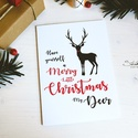 My Deer - Rénszarvasos karácsonyi képeslap 6., Dekoráció, Naptár, képeslap, album, Ünnepi dekoráció, Karácsonyi, adventi apróságok, Ajándékkísérő, képeslap, Képeslap, levélpapír, Most Rudolf, a legmenőbb piros orrú rénszarvas viheti az ünnepi üzeneteket, a szívednek legked..., Meska
